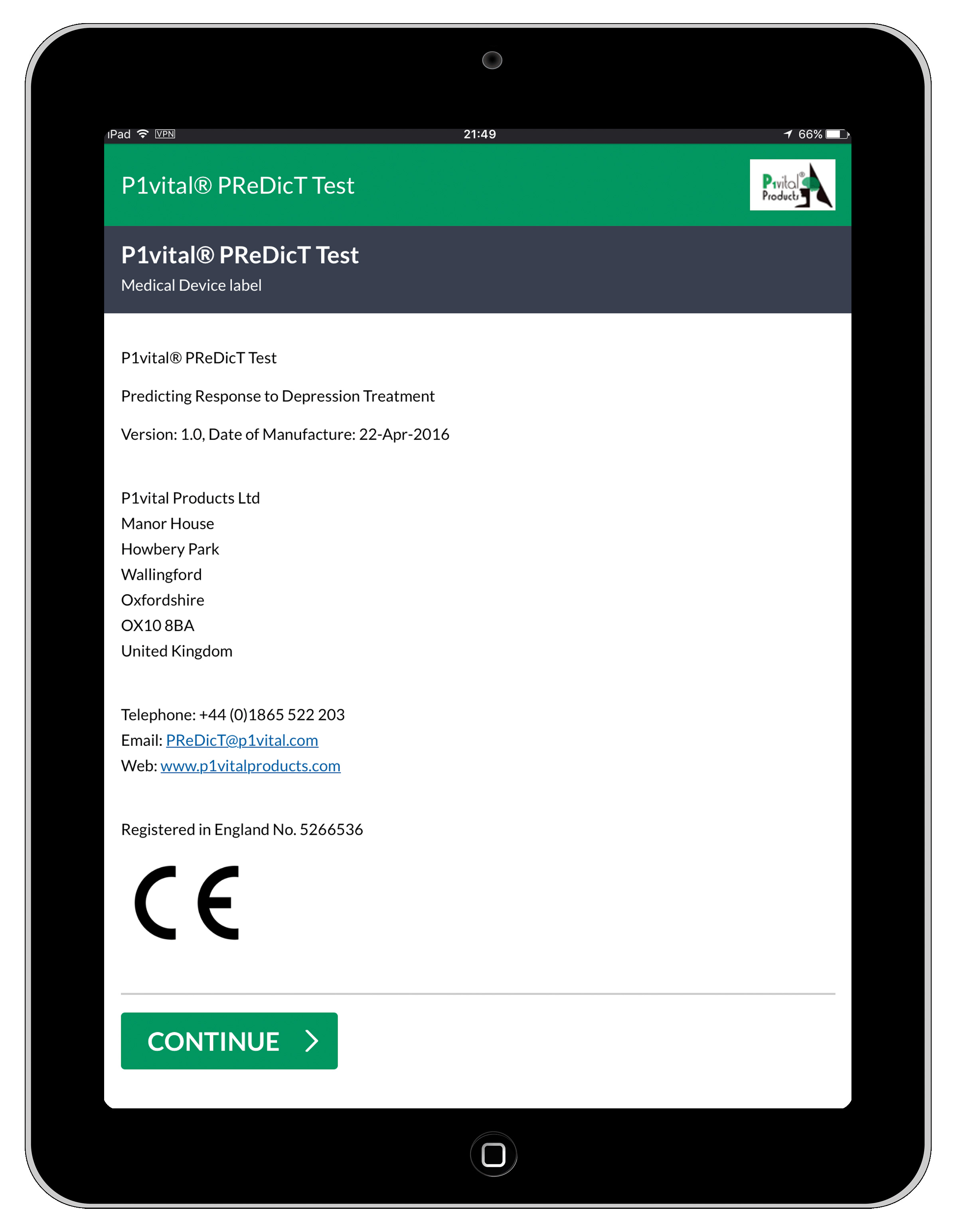 P1vi­tal® PRe­DicT Test on Tablet
